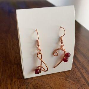 Handmade Treble Bass Clef Beaded Drop Earrings